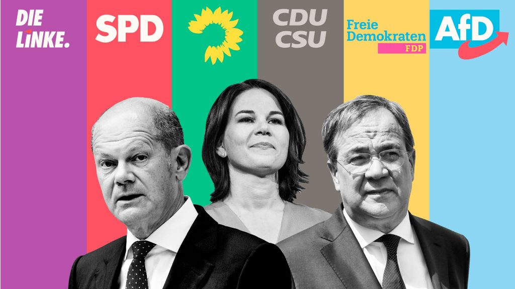 Olaf Scholz , head of the SPD, Annalena Baerbock, head of the Green Party and Armin Laschet, head of the CDU